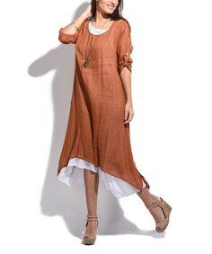 Brick Red Roll-Tab Linen Midi Dress