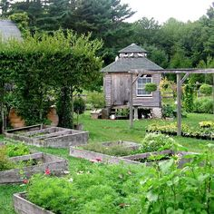 Snug Harbor Farm nursery, Kennebunk, Maine. love the squab nursery on top of the potting shed...people used to raise pigeons for food in fact they were brought here from europe just for that purpose in the 1600-1700's