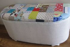 Vintage blanket box with a colourful patchwork top. Patchwork Blanket, Blanket Box, Patchwork Patterns, Vintage Blanket, Upcycling Ideas, Gifts For Family, Bobs, Home Furnishings, Random Things
