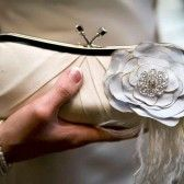 pleated bridal clutch with something blue floral detail (by sara c accessories)