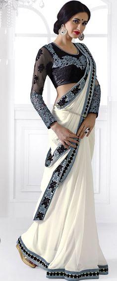 Elegant Off White Saree