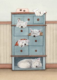 A dresser full of west highland terriers (westies) / Lynch signed folk art print. $12.99, via Etsy.