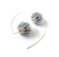 Sphere earrings, silver & enamel