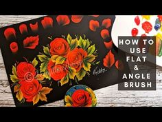 How to paint RED Roses in acrylics painting ideas Using angle & Flat Brush DON'T MISS it - YouTube Basic Painting, One Stroke Painting, Painting Videos, Painting Techniques, Cake Painting, Painting Tutorials, Flat Brush, Painted Cakes, Paintings