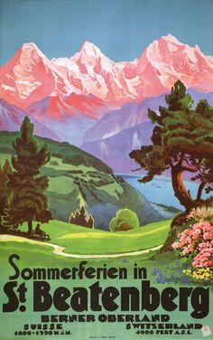 Vintage Travel Poster - Summer Holidays in St. Beatenberg -Berner Oberland - Switzerland.
