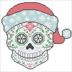 BOGO FREE Cross stitch SUGAR Skull Santa door Rainbowstitchcross