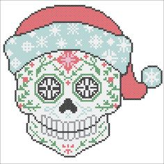 BOGO FREE! Cross stitch  - SUGAR Skull Santa Fun Christmas -pdf cross stitch pattern  -  pattern instant download #71 by Rainbowstitchcross on Etsy