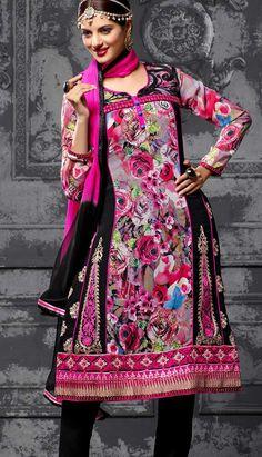 Indian Beautiful Pink Georgette Churidar Kameez PartyWearDresses,
