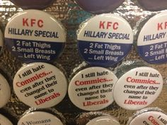 Republican Convention Features Sexist Anti-Hillary Buttons: 2 Fat Thighs, 2 Small Breasts But Republicans definitely dont have a woman problem, right? Small Thighs, Fat Thighs, Republican Convention, Republican Party, Anti Hillary, Women Problems, Left Wing, Girl Body, Atheism