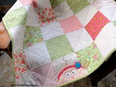 Pink and Green Patchwork Baby Girl Quilt by twistedsticks on Etsy, $75.00