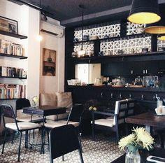 Home Decorators Collection Lighting Coffee Restaurants, Outdoor Cafe, Coffee Shop Design, Dark Interiors, Cafe Interior, Interior Design Inspiration, Midcentury Modern, Ideas, Table