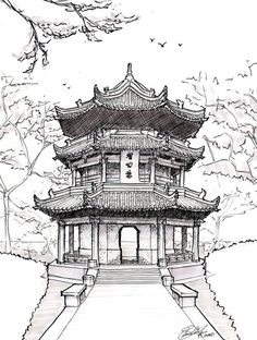 Architecture Drawing Pagoda drawing chinese pagoda by on devian. -Chinese Architecture Drawing Pagoda drawing chinese pagoda by on devian. - Custom House Portrait Pen and Ink drawing of home from photo Architecture Drawing Art, Architecture Sketchbook, Chinese Architecture, Japanese Buildings, Japanese Streets, Ancient Architecture, Japanese Drawings, Japanese Art, Japanese Sleeve