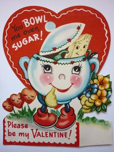 Anthropomorphic sugar bowl vintage Valentine card