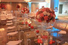 Cute peach table ideas #wedding #love #peachlove #centerpiece #flowers