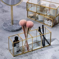 Luxury Clear Glass Makeup Box Cosmetic Storage Box Make Up Brush Organizer . - Luxury Clear Glass Makeup Box Cosmetic Storage Box Make Up Brush Organizer … # storage box - Organizer Box, Make Up Organizer, Make Up Storage, Storage Boxes, Makeup Tray, Makeup Box, Makeup Brushes, Makeup Brush Storage, Makeup Tables