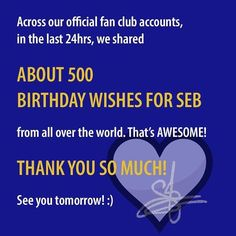 Thank you so much for all your birthday wishes for Séb x Godnight  SIFC Team