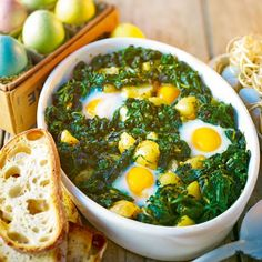 Baked eggs florentine - note quantities missing for some ingredients!
