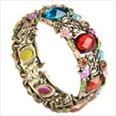Stylish Metal Bracelet Bangle Cuff with Rhinestone & Flower Pattern Ladies Jewelry Collection - Assorted Color