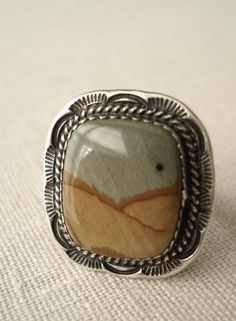 Stamped sterling silver and picture jasper ring