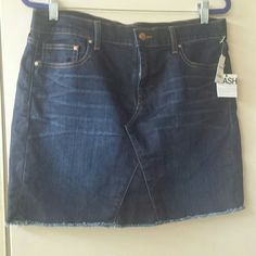 Gap Denim Jean Skirt Brand new w/ tags. Frayed bottom for the distressed look, Super soft lightweight breathable stretchy cotton polyester spandex blend. Great skirt! Taking offers GAP Skirts Mini