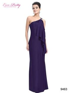 Gorgeous Purple One Shoulder Diamantes Long Evening Dress - Ever-Pretty US