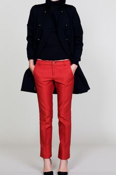 #PANDORAloves red ankle pants with a black coat #red