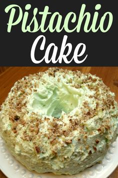 Also called Watergate Cake, this moist cake recipe uses pistachio pudding in the cake and in the frosting. This is a perfect dessert for Easter, St. Patrick's Day and Christmas! Pistachio Pudding Cake, Pistachio Recipes, Pistachio Nut Cake Recipe, Pistachio Bread, Pistachio Cupcakes, Pistachio Dessert, Dessert Parfait, Bon Dessert, Tiramisu Dessert