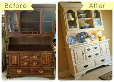 craigslist hutch makeover with chalk paint, chalk paint, painted furniture. Look at the great result!
