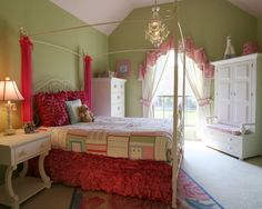 "Princess curtains on bed and window.""  ""The bed the desk the curten the carpet""  ""Paint color. Ruffle bed skirt. Iron bed""  ""bed with curtains and ruffle at the bottom"""