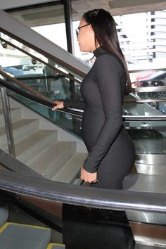 Naya Rivera Pregnant Woman Wearing a Black Dress Ultra Slinky Turtleneck and Long Sleeves