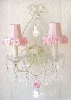 Double Light Wall Sconce with Pink Rose Shades