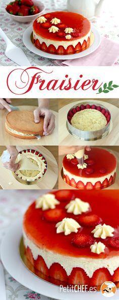 Una receta que resaltará tus fresas! y que seguro encantará a tus invitados :) #fraisier #fresas #postre Cupcake Piping, Ideas Para Fiestas, Chocolate, Baked Goods, Mousse, Cheesecake, Good Food, Cupcakes, Foods