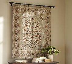 Originating as an ancient folkcraft often used to record myths or illustrate rituals, the meticulous art of kalamkari has inspired people for centuries. Echoing the sophisticated motifs of those traditional textiles, our tapestry features an arc… Decor Design, Large Curtains, Beautiful Decor, Tapestry, Indian Decor, Boho Living, Indian Home Interior, Hanging Art, Tapestry Wall Art