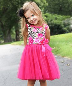 Look at this Kosse Designs Hot Pink & Leopard Flower Tulle Dress - Toddler & Girls on #zulily today!