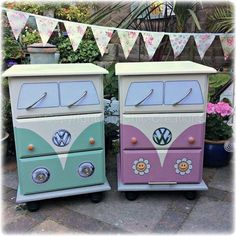 These are nightstands but would make great beehive decorations