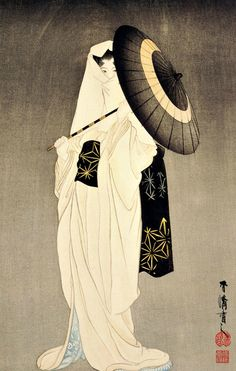 The spirit of the heron maiden  woodblock print by Taniguchi Kokyo (1864-1915), dated 1925