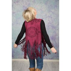 Burgundy Vegan Suede Vest with Tassels Bohemian Fashion, Bohemian Style, Boho Chic, Boho Look, Burgundy Color, Boho Outfits, Looks Great, Tassels, Vest