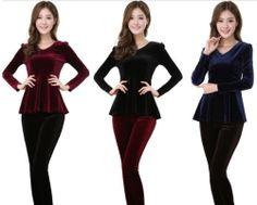 Long-Sleeved Vintage velvet Slim blouse top XM001 plus size 1x (SZ 16-18)