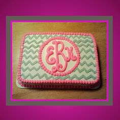 Grey Chevron with Pink Monogram Cake