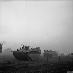 Buffaloes of 5th Royal Tank Regiment during the Rhine crossing, 24 March 1945.