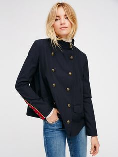 #9 Blazer | Super chic blazer with an easy shape and a cool menswear feel. Features gorgeous etched buttons in front with military-inspired sleeve cuffs. Decorative front pocket details. Back vent. Lined.