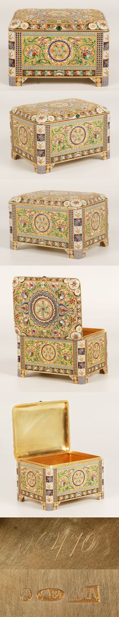A Russian silver glit and shaded cloisonne enamel casket, 11th Artel, Moscow, circa 1908-1917. Of rectangular form and hinged lid, the casket is completely covered with multi-color shaded enamel of stylized floral and foliate motifs against a stippled gilded ground.
