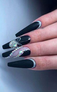 Silver Glitter Nails, Rhinestone Nails, Bling Nails, Rhinestone Nail Designs, Glitter Pedicure, Black Coffin Nails, Matte Black Nails, Matte Gel, Stiletto Nails