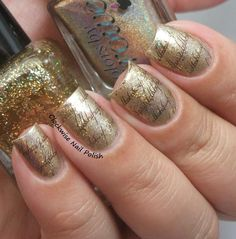 CbL Blonde Ambition ; FUN Lacquer King ; Barry M Gold Foil Effects ; Color Club Antiquated ; DRK Marrom Metalico ; Uber Chic Geek Love plate 01 ; 8/16/15