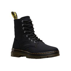 Dr. Martens Combs 8-Eye Boot ($90) ❤ liked on Polyvore featuring shoes, boots, ankle booties, combat boots, lace-up booties, black booties, black lace up ankle booties and black laced booties