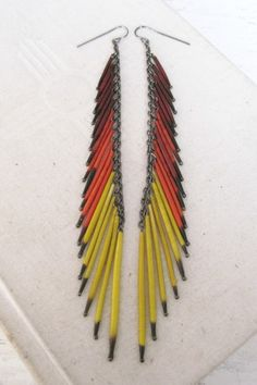 dyed porcupine quill earrings