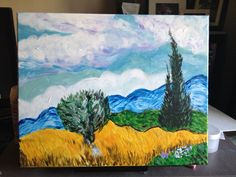 Van Gogh's Wheatfield with Cypresses Acrylic on canvas (6x20) Another Art Social evening with a nice painting.  Overall it works pretty well and is true to the original.
