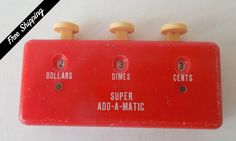 Vintage Housewives Tool Red Super Add-A-Matic Coin Counter Mid Century 50s 60s by VintageSistersx2 on Etsy