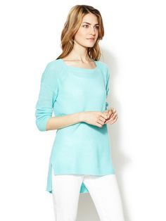 Cashmere Square Neck Pullover Sweater by White + Warren on Gilt.com
