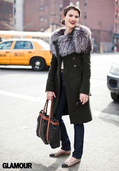 grey fur and deep green coat Twirling Clare: fur collar